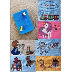 Drap de douche Bleu avec motif et prénom